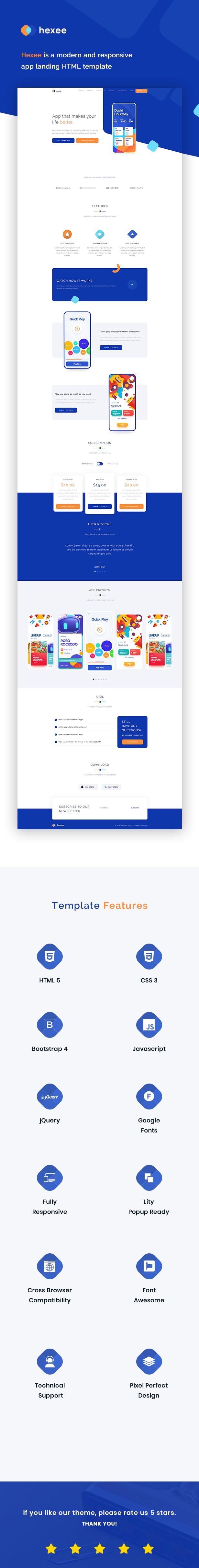 Hexee - Responsive Modern App Landing HTML Template - 1